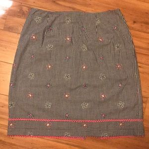 Talbots Gingham Skirt Pink RicRac Embroidered SZ10